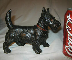 ANTIQUE HUBLEY STANDING BLACK SCOTTY CAST IRON STATUE DOORSTOP SCOTTISH TERRIER