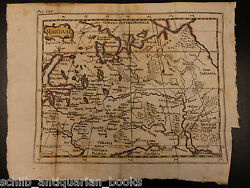 1742 Color Copper Map Of Russia Moscow Kiev Ukraine Tartary Finland 18 X 24cm