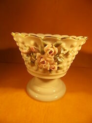 Lefton China- Pedestal Candy Dish-hand Painted -1190-raised Roses Andraised Bumps