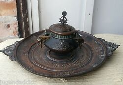 Antique Japanese Chinese Bronze Copper Large Sculptural Inkwell Signed Numbered