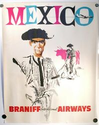 Vintage Braniff International Airways Mexico Travel Poster Airlines 20 X 26
