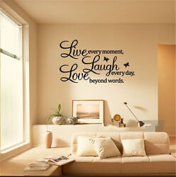 PVC LIVE LAUGH LOVE Letters Removable Room Art Mural DIY Wall Sticker Decal New