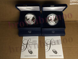 2014 W + 2015 W American Eagle One Ounce Silver Proof 1 Oz Box And Coa 2 Coins