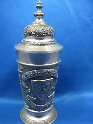 8.5 Antique German Pewter Embossed And Engraved Container/ Cookie Jar With Lid