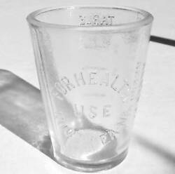 Old Glass Medicine Drug Dose Cup Advertising Root Tea Na Herb Co. Akron Oh