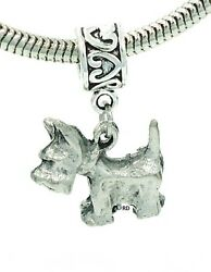 Westie Terrier Dog Charm on Heartprint Slider for Bracelet or Necklace