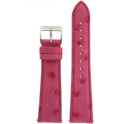 Watch Band Genuine Pink Ostrich With Easy Change Springs
