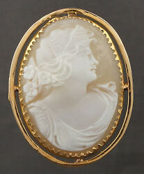 Vintage 14k Yellow Gold Carved Conch Shell Cameo, 1 3/4 Pin, Brooch, Pendant