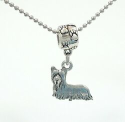 Skye Terrier Lovers Charm on Pawprint Slider for Bracelet OR Necklace