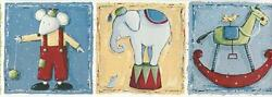 Wallpaper Border Kids Elephant Rocking Horse Mouse Blue Green Yellow Red