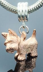 3 D Scottish Terrier Charm Copper plated Pewter on Silver Slider