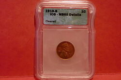 1919-s Icg Lincoln Cent Wheat Penny Ms 60 Detail Free Shipping