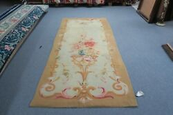 Antique French Aubusson Tapestry Panel 40 X 98 Early 1900's Handmade Wool