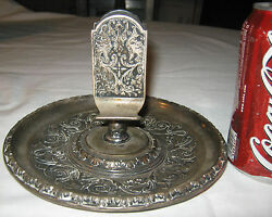 Antique Jennings Brothers Gothic Medieval Northwind Face Ashtray Match Holder Jb