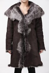Ladies Womenand039s Brown With Grey Real Toscana Sheepskin Leather Trench Hooded Coat