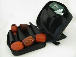 Martin Wess Germany Lea Soft Leather 5 Pipe Bag Case New