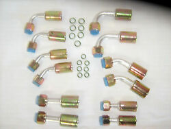 A/c Beadlock Fitting Kit Female O Ring Crimp6 And 8 Straight4590 Degree 12 Pc