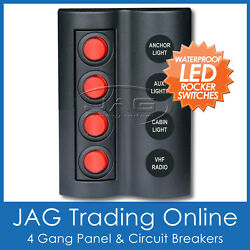 4 Gang Red Round Led Rocker Switch Panel And Circuit Breakers -marine/boat/caravan