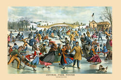 Central Park New York Ice Skating By Currier And Ives Vintage Poster Repro Free Sh