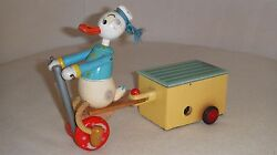 Rare Vintage Walt Disney Donald Duck Wood And Tin Spring Toy - Working Condition