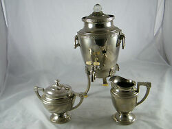 Vintage Universal Silverplate Coffee Urn / Percolator And Matching Sugar And Creamer