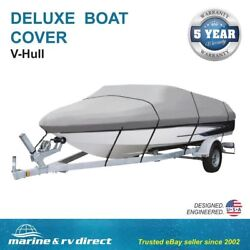 Deluxe 20and039 21and039 22and039 Runabout Ski V-hull Boat Cover Gray 600 Denier