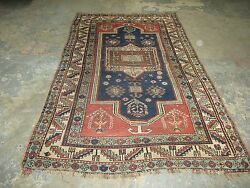Antique Caucasian Kazak Rug 4and039-6 X 6and039-4 Hand Knotted Wool On Wool Foundation