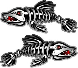 2 - 20.5 X 47 Skeleton Fish Decals Stickers Boat Graphics Ice Fishing Trailer
