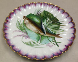 Antique Hand Painted Fish Plate Scalloped Purple French Haviland J Soustre
