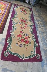 Antique / Vintage Primitive American Hand Hooked Rug Runner 2'9 X 7'9 Fabric