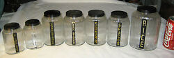 Antique Country Set Of 7 Ribbed Art Glass Hoosier Canister Storage Holder Jars