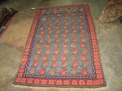 Antique Russian Caucasian Kuba Hand Knotted Rug 2'-11 X 5' Wool