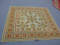 Antique Hand Stitched English Needlepoint Tapestry Rug Table Top Wool 57 X 57