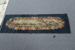 Antique French Aubusson Tapestry 19 X 60 Handmade Silk And Wool Floral Cranes