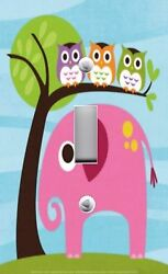 Light Switch Plate And Outlet Covers Owls In Tree Pink Elephant Cute
