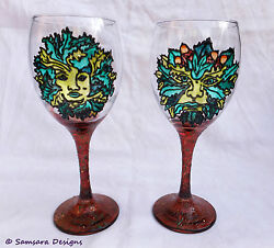 Green Man Green Lady Wine Gin Beer Glass Goblet Chalice Gift Witch Pagan Hippy