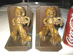 Antique Jennings Brothers Western Rodeo Horse Texas Cowboy Gun Statue Bookends