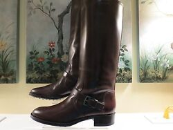 Nwb Womens Authentic Tod's Brown Leather Tall Riding Equestrian Boots Size 41/11