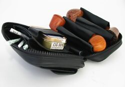 Martin Wess Germany Lea Soft Leather 4 Pipe Bag Case New