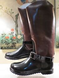Nwb Womens Dolce And Gabbana Black Brown Leather Rubber Riding Rain Boots 42 Or 41