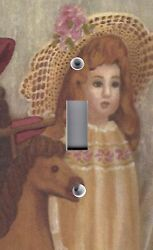 Light Switch Plate Outlet Covers Antique Porcelain Doll Girl Flower Hat And Pony