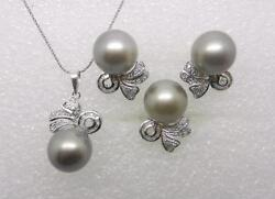 14k White Gold Vintage 13mm Gray Sea Pearl Diamond Necklace, Ring, Earrings Set