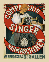 Singer Sew Sewing Machine 1900 Paris France French 16x20 Vintage Poster Free S/h