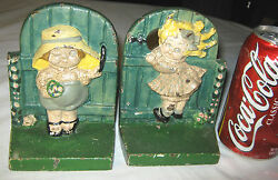 Antique Hubley Pa 1921 Cast Iron Boy Girl Doll Statue Sculpture Toy Art Bookends