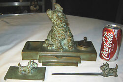 Antique Barclay 3 Pc Bronze Toy Terrier Dog Inkwell Pen Knife Opener Art Hubley