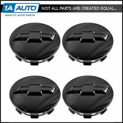 Oem Wheel Center Cap Gloss Black With Bowtie Logo Set Of 4 For Gm Truck Suv New