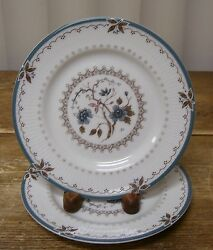 2 Royal Doulton Old Colony Bread Plate Tc1005 England Blue Flowers Brown Leaves