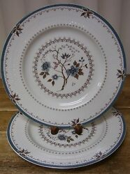 2 Royal Doulton Old Colony Dinner Plate Tc1005 England Blue Flowers Brown Leaves