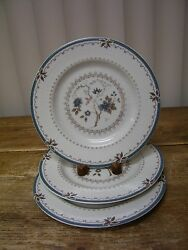3 Royal Doulton Old Colony Salad Plate Tc1005 England Blue Flowers Brown Leaves
