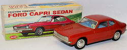 rare 1960 tin friction powered red ford